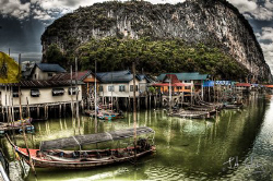 The sea gypsy village of Pan Yee as an HDR photo. 